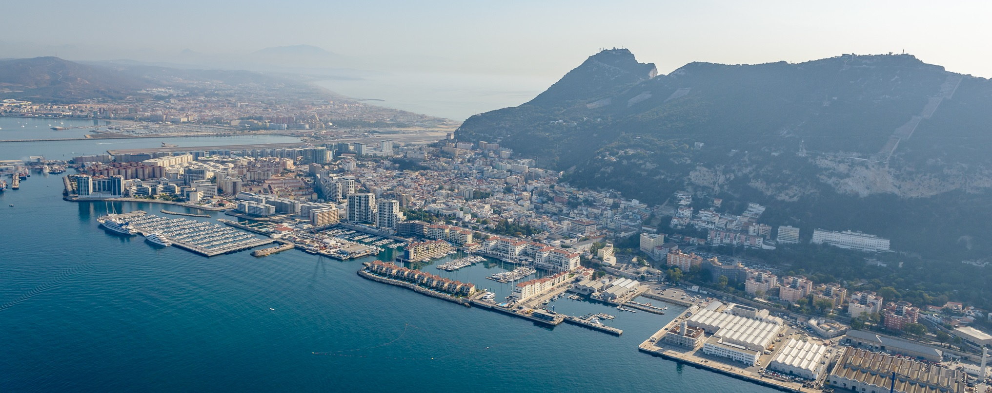 Gibraltar From Helicopter The Town - Gibheli