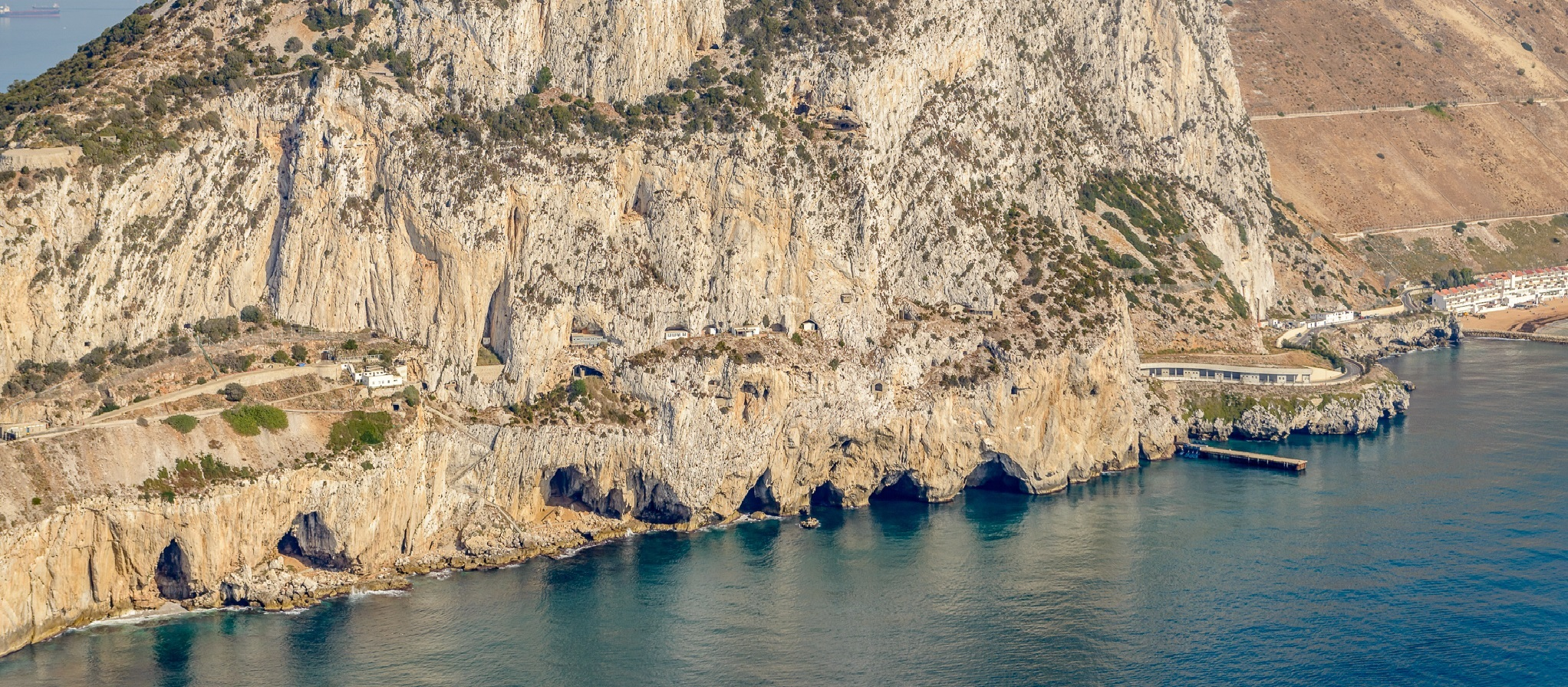 Gorhams Cave in Gibrlatar form helicopter